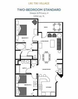 Liki Tiki Village | One-Bedroom Floor Plan